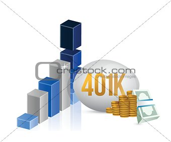 401k egg and cash money graph illustration