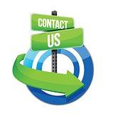 contact us target road sign illustration design