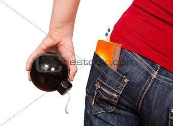 Girl holding bomb