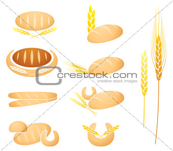 Bread, baguette, corn and wheat