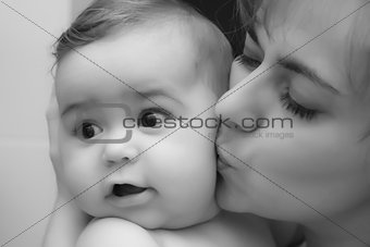Baby boy with mother