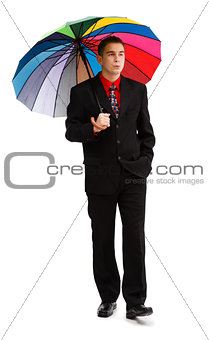 Casual man walking with colorful umbrella