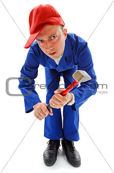 Awkward repairman with hammer