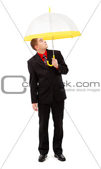 Man with yellow umbrella