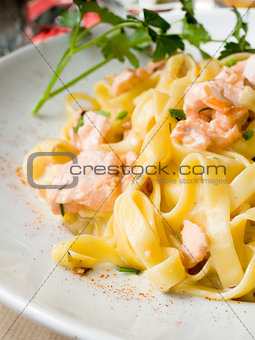 tasty pasta with salmon