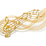 Gold musical notes staff background on white.