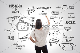 Young woman writing about business