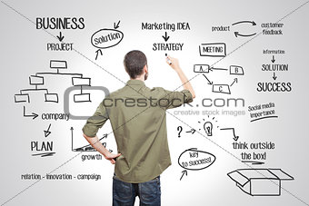 Young man writing about business