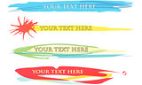 4 Isolated Vector Summer Coloured Banners and Signs with Text Area