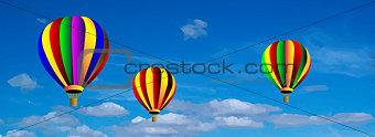 Vector hot air colorful balloon on blue sky