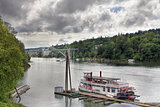 Historic Sternwheeler Docked Along Willamette River