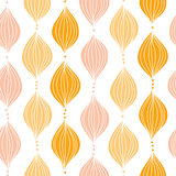 Vector abstract golden ogee seamless pattern background with hand drawn elements