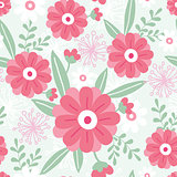 Vector pink flowers and green leaves elegant seamless pattern background