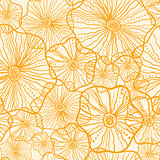 Vector Yellow floral shapes seamless pattern background