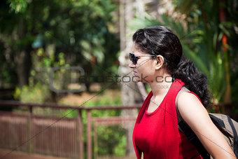 Indian Young girl enjoying nature