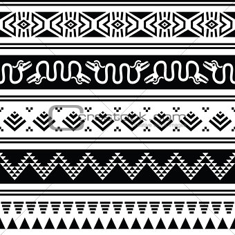 Aztec tribal seamless pattern with animals