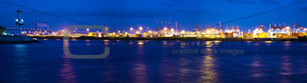 Nightly reflections of container terminal