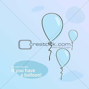 Blue background. Baloon