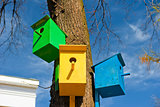 Three colorful birdhouse