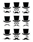 Mustache or moustache with hat and glasses icons set
