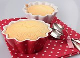 sponge cake in red and white cups