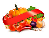 Background with fresh vegetables and red ribbon. Vector.