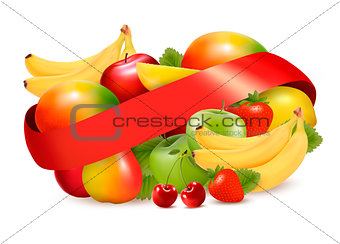Group of summer and tropical fruit with ribbon. Vector