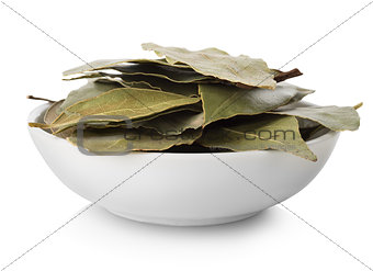 Bay leaves in plate