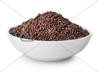 Black mustard seeds in plate