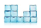 Figures from blue ice cubes isolated