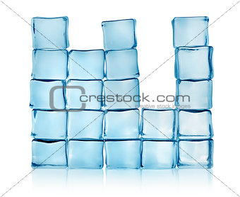 Figures from blue ice cubes