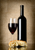 Wine and  bread on canvas