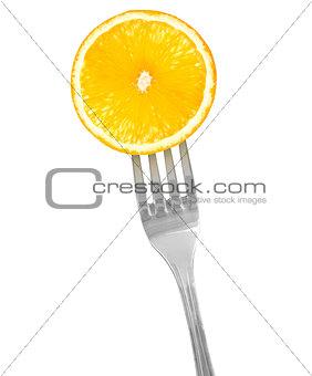Slice of orange on a fork