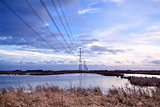 high-voltage electric line over swamp