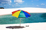 umbrella beach in the Lencois Maranheses National Park brazil