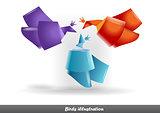 Origami birds symbols