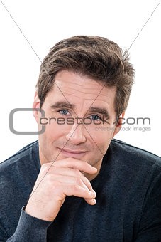 mature handsome man blue eyes smiling portrait