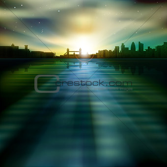 abstract background with silhouette of London