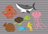Clipart - Cartoon Sea Animals for Babies