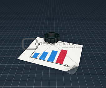 business graph and gear wheel
