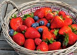 Strawberries, blueberries, raspberries mix in the basket