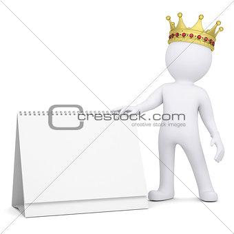 3d white man with a crown holding a desk calendar