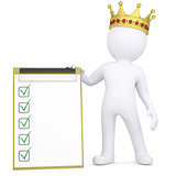 3d white man with a crown holding a checklist