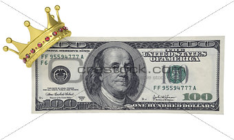 One hundred dollars with the crown