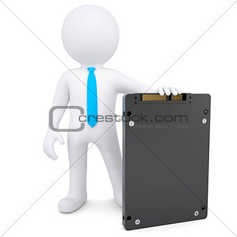 3d white man holding a solid state drive