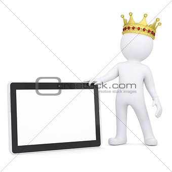 3d white man with a crown holding a tablet PC