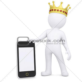 3d white man with a crown holding a smartphone