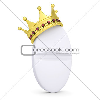 Crown on the white tablet