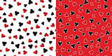 Playing Cards Suits Seamless Patterns. Vector