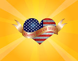 Happy 4th of July Heart with Scroll and Sun Rays
